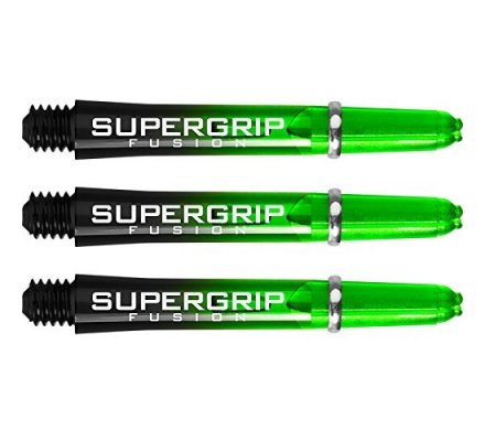Lot de 3 tiges de fléchettes Supergrip Fusion Black/Verte Courte SP916