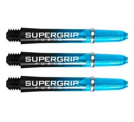 Lot de 3 tiges de fléchettes Supergrip Fusion Black/Aqua Courte SP918